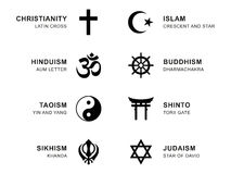 World religion symbols with English labeling. World religion symbols. Eight signs of major religious groups and religions. Christianity, Islam, Hinduism Royalty Free Stock Images