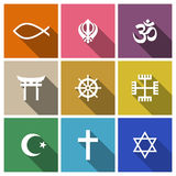 World religion symbols flat set Royalty Free Stock Images
