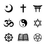 World religion symbols set with - christian. Jewish, Islam, Buddhism, Hinduism, Taoism, Shinto, pentagram, and book as symbol of doctrine. Vector illustration Royalty Free Stock Image
