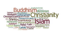 World Religions. A cloud of words of the names of organized religions and sects around the world Stock Images