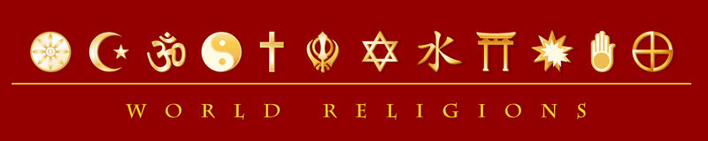 World Religions Banner. Gold icons of 12 world religions on red banner. EPS8 compatible Royalty Free Stock Photography