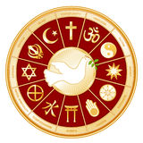 World Religions, Dove of Peace. Dove of Peace surrounded by world religions on a red background in a golden wheel. Christianity, Hinduism, Taoism, Baha'i Stock Photo