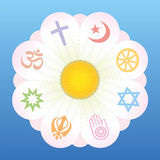 World Religions Flower Symbols. World religion symbols on petals of a flower as a symbol for religious solidarity and coherence - Christianity, Islam, Buddhism Royalty Free Stock Photo