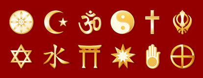 World Religions, Gold on Crimson Stock Photography