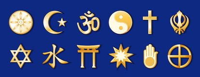 World Religions, Gold on Royal Blue. Gold icons of 12 world religions, from top left: Buddhism, Islam, Hinduism, Taoism, Christianity, Sikhism, second row Royalty Free Stock Photography
