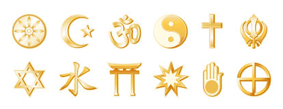World Religions, Gold on White. Gold icons of 12 world regions, from top left: Buddhism, Islam, Hinduism, Taoism, Christianity, Sikhism, second row: Judaism Stock Photography