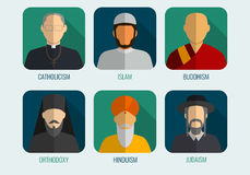 World religions monk people icons. Flat design style. Vector Royalty Free Stock Photos