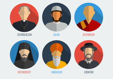 World religions monk people icons. Flat design style. Vector Stock Photos