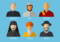 World religions monk people icons. Flat design style. Vector Royalty Free Stock Images
