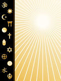 World Religions Poster. Copy space for text: stationery, announcements, ads, fliers and posters. Symbols for: Hindu Aumkar, Baha'i Star, Islam Crescent and Star Royalty Free Stock Photo