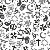 World religions symbols vector icons gray seamless pattern  eps10 Stock Photos