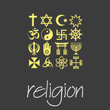 World religions symbols vector set of green icons  eps10 Royalty Free Stock Photos