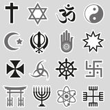 World religions symbols vector set of stickers eps10 Royalty Free Stock Photos