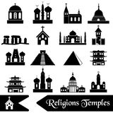 World religions types of temples icons  eps10 Royalty Free Stock Photos