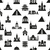 World religions types of temples icons seamless pattern eps10 Royalty Free Stock Photos