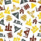World religions types of temples icons seamless pattern Royalty Free Stock Photo