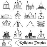 World religions types of temples outline icons Royalty Free Stock Photos