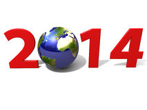 World 2014. A rendering of 2014 with world and white background Stock Photography