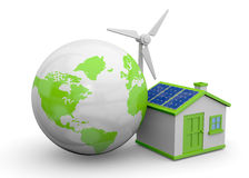 World and Renewable Energies - 3D Stock Photo