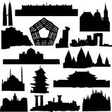 World-renowned architecture. And relics silhouette Royalty Free Stock Images