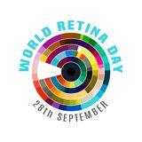 World retina day. September 28 - world retina day. Logotype or event symbol idea. Editable vector illustration in bright colors isolated on a white background royalty free illustration