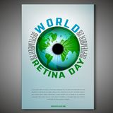 World retina day. September 28 - world retina day. Vertical poster template with a globe image. Editable vector illustration in blue and green colors. Medical royalty free illustration