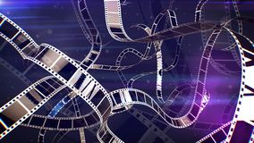 World Retro Film Tapes. An amazing 3d rendering of nostalgic white and violet film tapes with lines of holes covering the whole illustration. The tape rolls curl Royalty Free Stock Images