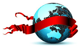 World with ribbon Stock Photos
