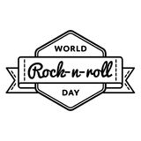 World Rock-n-roll day greeting emblem Stock Photos