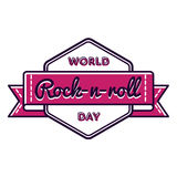 World Rock-n-roll day greeting emblem Royalty Free Stock Photo