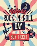 World Rock and Roll Day Typography Banner. Buy Ticket on Concert at Lowest Rate Live Music with Electric Guitar and Place for Text. World Rock and Roll Day vector illustration