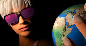 World rose colored glasses Stock Photo