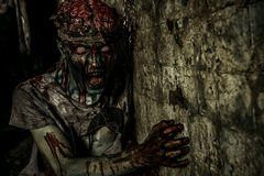 World ruins. Terrible bloody zombie man  with the brains out in search of his victim. Horror. Halloween concept Royalty Free Stock Image
