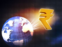 World with Rupee symbol Royalty Free Stock Images