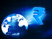 World with Rupee symbol Stock Photos