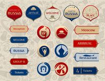 World of Russia, set of buttons, vector templates. World of Russia, set of icons, buttons, frames, arrows with traditional and modern russian elements, 2018 Stock Image