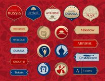 World of Russia, set of icons, vector templates. World of Russia, set of icons, buttons, frames, arrows with traditional and modern russian elements, 2018 trends Stock Photos