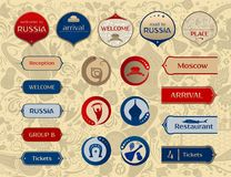 World of Russia, set of icons, vector templates. World of Russia, set of icons, buttons, frames, arrows with traditional and modern russian elements, 2018 trends Royalty Free Stock Images