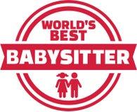 World's best Babysitter button. Vector Stock Image