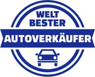 World`s best car Salesman button. German. Stock Photo