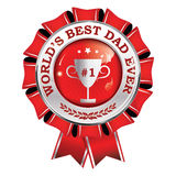 World`s best dad ever - printable award ribbon. Button, icon, label with champions cup. Print colors used Royalty Free Stock Photos