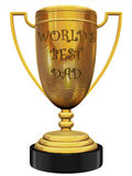 World's best dad trophy. World's best dad golden trophy on the white background Stock Image