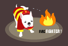The World's Best Firefighter. An image of a dog dressed up as a firefighter and putting off a fire by urinating on it Royalty Free Stock Photo