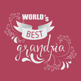 WORLD`s best grandmother. Greeting card. . Royalty Free Stock Photography