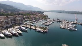World`s best marine for super yachts boats . Porto Montenegro in Tivat. World`s best marine for super yachts boats. Porto Montenegro in Tivat, Montenegro, Aerial stock video
