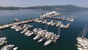 World`s best marine for super yachts boats . Porto Montenegro in Tivat. World`s best marine for super yachts boats. Porto Montenegro in Tivat, Montenegro, Aerial stock footage
