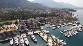 World`s best marine for super yachts boats . Porto Montenegro in Tivat stock video