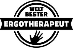 World``s best Occupational therapist. german button. Royalty Free Stock Image
