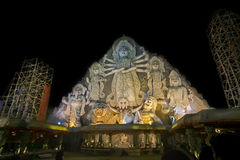 World's biggest Durga idol at Puja festival, 70 feet tall, made of clay. KOLKATA , INDIA - OCTOBER 18, 2015 : World's biggest Durga idol at Durga Puja festival Stock Photography