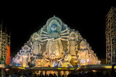 World's biggest Durga idol at Puja festival, 70 feet tall, made of clay. KOLKATA , INDIA - OCTOBER 18, 2015 : World's biggest Durga idol at Durga Puja festival Royalty Free Stock Photography